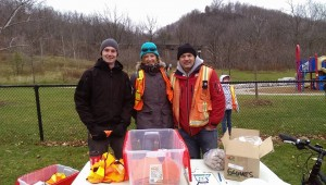 Team Leaders Eric Carolan, Ine Wauben & Greg Lenko at the fall interim Dundas clean-up